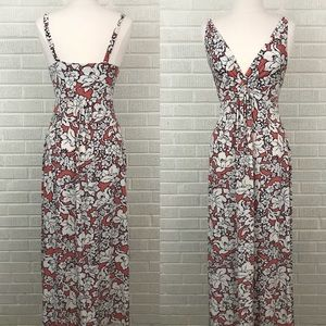 Soma Floral Maxi Dress Coral White Twist Front - M